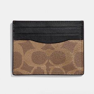 COACH Leather Slim Card Case In Signature Canvas